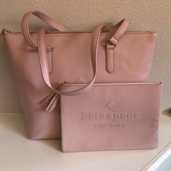 kate spade Handbags - kate spade pink tote and pouch set